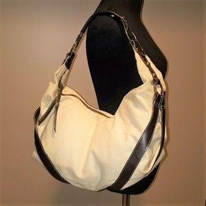 White House Black Market Cream Canvas Large Bag